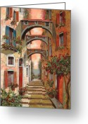 Street Scene Greeting Cards - Archetti In Rosso Greeting Card by Guido Borelli