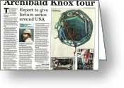 Www.artworkxofmann.com Mixed Media Greeting Cards - Archibald Knox - News article Greeting Card by ArtworkX of Mann