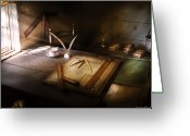 Architect Photo Greeting Cards - Architect - The drafting table  Greeting Card by Mike Savad