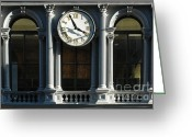 Old Wall Greeting Cards - Architectural arches and Clock Greeting Card by Anahi DeCanio