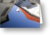 Puddle Greeting Cards - Architecture reflection Greeting Card by Vladi Alon