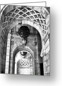 The New York New York Greeting Cards - Archways at the Library bw Greeting Card by John Rizzuto