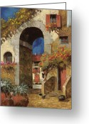 Guido Tapestries Textiles Greeting Cards - Arco Al Buio Greeting Card by Guido Borelli