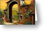 Oil Canvas Greeting Cards - Arco Di Paese Greeting Card by Guido Borelli