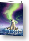 Polar Bear Greeting Cards - Arctic Kiss Greeting Card by Jerry LoFaro