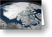Curvature Greeting Cards - Arctic Sea Ice Above North America Greeting Card by Stocktrek Images