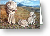 Playful Wolves Greeting Cards - Arctic Summer Greeting Card by Richard De Wolfe