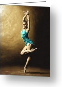 Pointe Greeting Cards - Ardent Dancer Greeting Card by Richard Young
