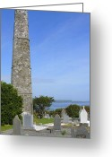 Graveyard Digital Art Greeting Cards - Ardmore Round Tower - Ireland Greeting Card by Mike McGlothlen