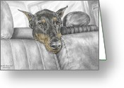 Pencil Drawing Greeting Cards - Are We There Yet - Doberman Pinscher Dog Print color tinted Greeting Card by Kelli Swan