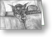 Dobe Greeting Cards - Are We There Yet - Doberman Pinscher Dog Print Greeting Card by Kelli Swan