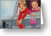 Girls Greeting Cards - Are we there yet Greeting Card by Joni McPherson