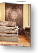 Wood Floor Greeting Cards - Area Rugs in a Store Greeting Card by Jetta Productions, Inc