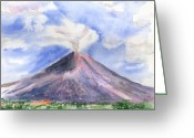 Cloud Greeting Cards - Arenal Volcano Costa Rica Greeting Card by Arline Wagner