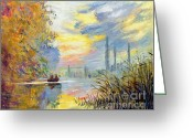 Argenteuil Greeting Cards - Argenteuil Evening - sur les traces de Monet Greeting Card by David Lloyd Glover