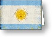 Old Wall Pastels Greeting Cards - Argentina flag Greeting Card by Setsiri Silapasuwanchai