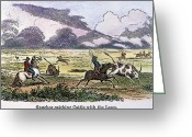 Cattle Greeting Cards - ARGENTINA: GAUCHOS, 1853. Gauchos catching cattle on the Argentine pampas. Wood engraving, American, 1853 Greeting Card by Granger