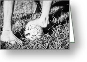 The Start Greeting Cards - Argentinian Hispanic Men Start A Football Game Barefoot In The Park On Grass Greeting Card by Joe Fox