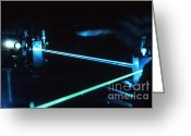 Laser Beam Greeting Cards - Argon-ion Laser Greeting Card by Science Source