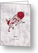 March Drawings Greeting Cards - Aries Artwork Greeting Card by Roly D Orihuela