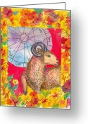 March Drawings Greeting Cards - Aries Greeting Card by Cathie Richardson