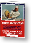 United States Propaganda Greeting Cards - Arise Americans Join the Navy  Greeting Card by War Is Hell Store
