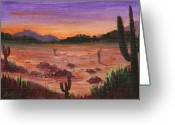 Dawn Drawings Greeting Cards - Arizona Desert Greeting Card by Anastasiya Malakhova
