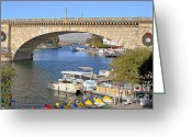 Old Bridge Greeting Cards - Arizona Import - Iconic London Bridge Greeting Card by Christine Till