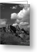 Mountainous Greeting Cards - Arizona mountains and Saguaro Cactus Greeting Card by Arni Katz