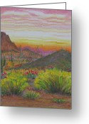 Dusk Pastels Greeting Cards - Arizona Prepares for Dusk Greeting Card by Collin Edler