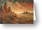West Painting Greeting Cards - Arizona Sunset Greeting Card by Andrew King