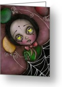 Eyed Greeting Cards - Arlequin Clown Girl Greeting Card by  Abril Andrade Griffith