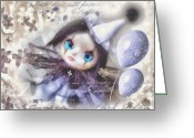 Puppet Greeting Cards - Arlequin Greeting Card by Mo T