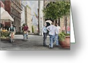 Europe Painting Greeting Cards - Arles Street Greeting Card by Sam Sidders