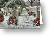 Usmc Greeting Cards - Arlington Christmas Greeting Card by JC Findley