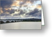 Arlington Memorial Bridge Greeting Cards - Arlington Memorial Bridge over the Potomac River From Washington DC Greeting Card by Brendan Reals