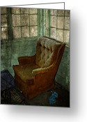 Rural Decay Prints Greeting Cards - Arm Chair Greeting Card by Larysa Luciw