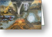 Flooding Greeting Cards - Armageddon Greeting Card by Nancy L Jolicoeur