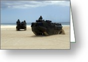 Armored Vehicles Greeting Cards - Armored Assault Vehicles Performing Greeting Card by Stocktrek Images