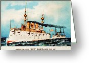Currier Drawings Greeting Cards - Armored Steel Cruiser New York Greeting Card by Pg Reproductions