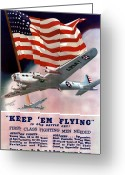 United States Flag Greeting Cards - Army Air Corps Recruiting Poster Greeting Card by War Is Hell Store
