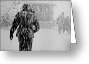 Storm Digital Art Greeting Cards - Army Base Snowstorm Greeting Card by Dale Stillman