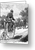 Penny Farthing Greeting Cards - ARMY MESSENGER, 1890s Greeting Card by Granger