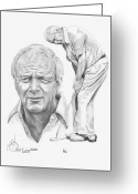 Famous People Drawings Greeting Cards - Arnold Palmer Greeting Card by Murphy Elliott