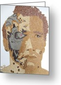 Portrait Reliefs Greeting Cards - Arnold Schwarzenegger Greeting Card by Kovats Daniela