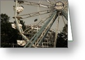 Amusement Parks Greeting Cards - Arnolds Park Ferris Wheel Greeting Card by Gary Gunderson