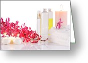 On White Greeting Cards - Aromatherapy Greeting Card by Atiketta Sangasaeng