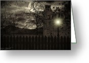 The Haunted House Greeting Cards - Arrival Greeting Card by Lourry Legarde