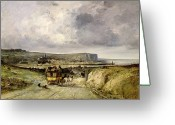 Coaching Greeting Cards - Arrival of a Stagecoach at Treport Greeting Card by Jules Achille Noel
