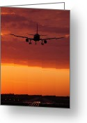 Jet Greeting Cards - Arriving at Days End Greeting Card by Andrew Soundarajan